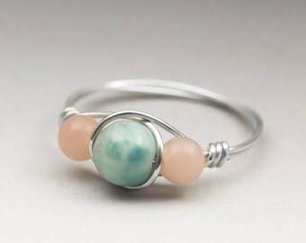 Larimar Blue Pectolite & Peruvian Pink Opal Sterling Silver Wire Wrapped Bead Ring - Made to Order, Ships Fast!