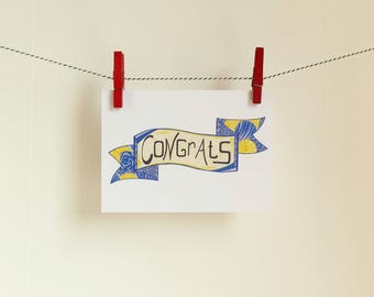 Card Congrats - A6 Postcard - Blank Card - Birthday Card - Congratulations Card - Card Recycled Paper.