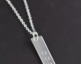 Bar Necklace Personalized 925 Sterling Silver Jewelry Engraved