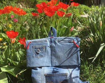 Large backpack made from recycled denim