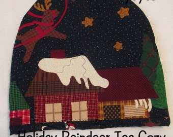 CHRISTMAS TEA COZY Reindeer Flying Over Holiday House Country Home Décor Gift