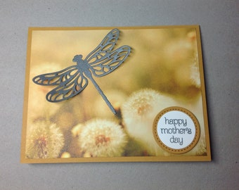 """Happy Mother's Day Card Silver Dragonfly - Golden Dandelion Puffs Background - """"Happy Mother's Day"""" Greeting Card - Grandma, Aunt, Mom Card"""