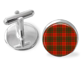 CAMERON TARTAN CUFFLINKS / Scottish Tartan Cuff Links / Tartan Jewelry / Personalized Gift for Him / Ancestral Jewelry / Cameron Clan Tartan