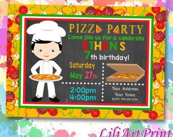 Pizza Party birthday invitation, pizza invite, pizza party birthday party, Digital file(8)