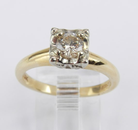 Antique Vintage Solitaire Diamond Engagement Ring 14K Yellow Gold Size 6.75