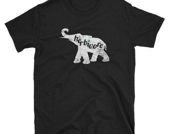 HERBIVORE Elephant Vegan Tshirt Shirt - Plant Based Eater Design - Mens Tee T-Shirt