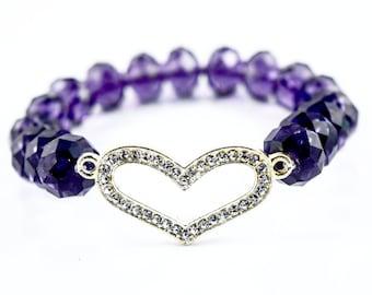 Purple Crystal Heart Stretch Elastic Bracelet - Bling Heart Bracelet - Purple Crystal Bracelet - Mothers Day - Purple Bling Bracelet