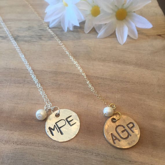 Monogram Necklace with Pearl, Mother's Day Necklace, Gold or Silver Monogram Necklace with Pearl
