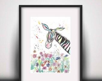Giclee print, zebra watercolour PRINT, zebra watercolour painting, zebra lover gift, watercolour animal print, zebra illustration