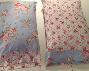 Shabby Chic Pillow cases / Cottage pillowcases / Shabby  rose pillowcases Standard size 20 X 30 Pillowcases