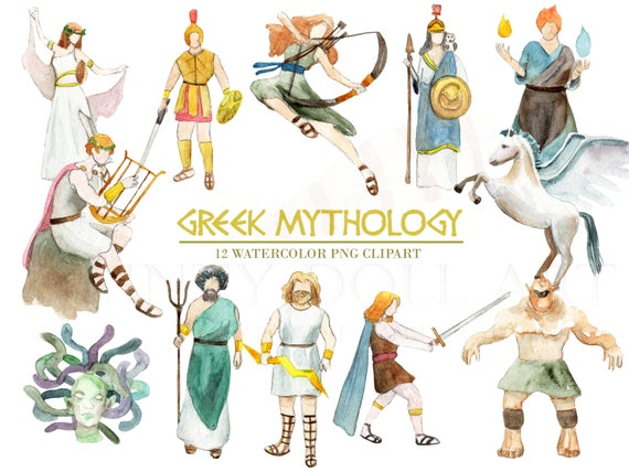 greek mythology clipart watercolor digital download greece rh etsy com greek mythology clips for kids greek gods clipart