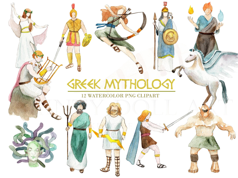 greek mythology clipart watercolor digital download greece vector rh etsystudio com greek mythology gods clipart greek mythology clips for kids
