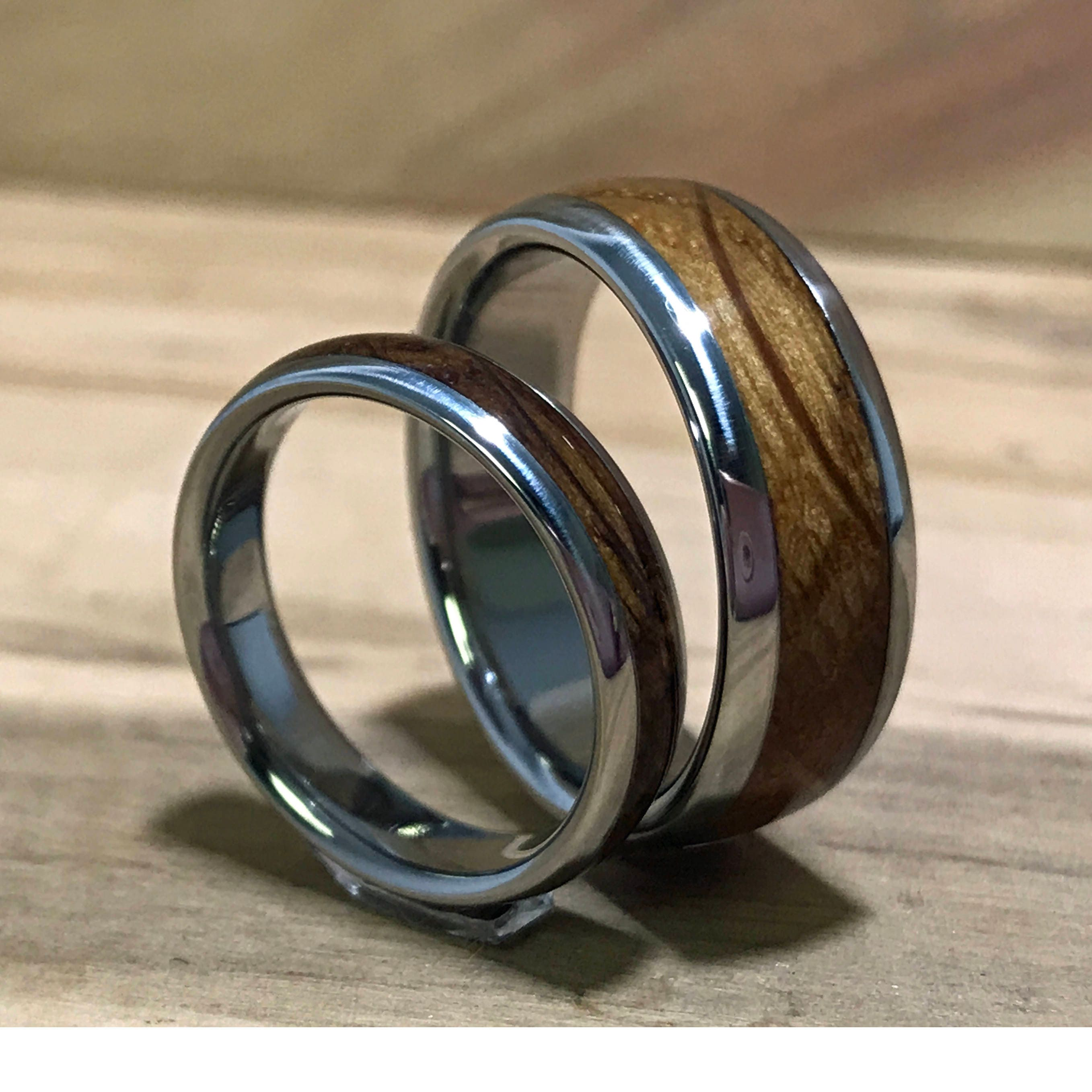 engagement exotic gift band lined media ring men wedding oak red women cobalt wood s rings