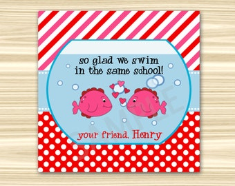 So Glad We Swim in the Same School Valentine Tags. Valentine Tags. Valentine Fish Bowl Die Cut Tags. Valentine Favor Tags. DIGITAL FILE