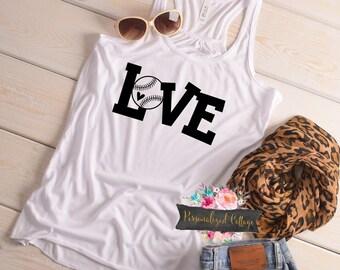 Baseball Mom Shirt/Women's Baseball Shirt/Bella Tank/Love Baseball Tank