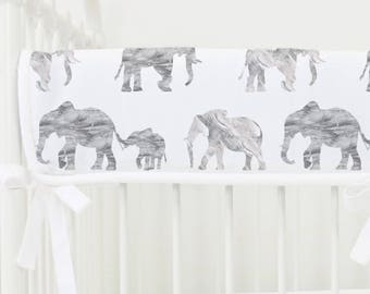 Gray Marble Elephant Parade Crib Rail Cover | Gray, White, Grey, Marble, Elephants, Modern, Gender Neutral Teething Guard | Modern Nursery