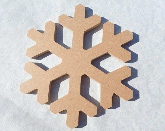 Snowflake Plaque -  Use as a Base for Mosaics Decoupage or Decorative Painting - Unfinished MDF Small 6 inch Sign Winter Holidays Snow