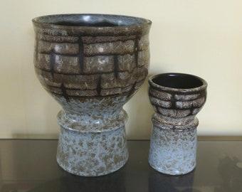 Set of vintage pottery vases, VEB Haldensleben Germany 2929 + 2935. Solid design, natural colors: soft blue, green, brown, black. Cup shape