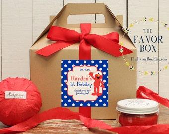 Set of 6 - Elmo Birthday Party Favor Boxes // Elmo Birthday Party // Kids Party Favor //  Elmo Favors // Elmo Goody Boxes //  Elmo Labels