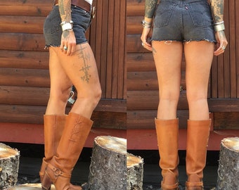 6 Zodiac Harness boots western O ring boots cognac tan caramel warm brown 70s 1970s 6.5 6 1/2 36 37 tall knee high stacked heel real leather