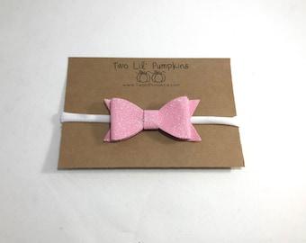 Pink Glitter Bow Headband, Valentine Baby, Mini Pink Glitter Bow Baby Headband, Pink Preemie Bow Headband, Pink Glitter Bow Newborn Headband