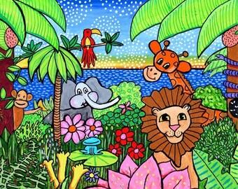 Jungle Animals Childrens Print Shelagh Duffett