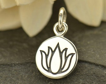 Etched Small Lotus Flower Necklace - Solid 925 Sterling Silver Renge Feng Shui Lian Hua Charm - Insurance Included