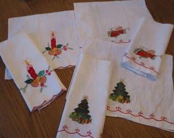 Set Of 6 Vintage Linen Christmas Finger Tip Towels, Christmas Guest Towels, Decorative Holiday Towels,