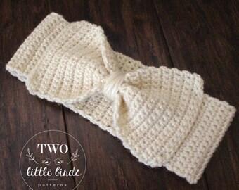Crochet Pattern, crochet ear warmer pattern, crochet headband pattern, ear warmer with bow, sizes toddler, child, adult, DELANEY EAR WARMER