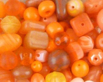 Orange Czech Glass Beads, Assortment, Mix (35 beads - 30grams) - BM