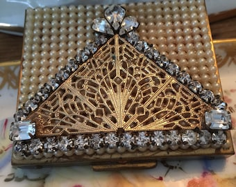 Antique French Ormolu Compact, Pearls, Stones, Goldtone, Mirror, Exquisite