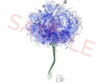 Blue flower painting // cornflower print // blue floral print // flower art print // blue flower drawing // flower print // flower girl gift