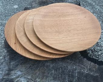 Set of Four White Oak Plates - Handmade