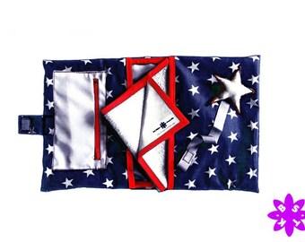 Kit Étoiles: broche para chupete + bolsa pañales y toallitas + cambiador