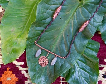Sacred Spiral Copper Wire Wrap Moonstone Necklace