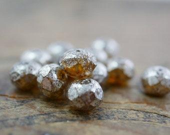 Czech Glass Rondelle Bead Mercury Glass Bead Amber 8x6mm (10)