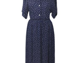 vintage 1980's RALPH LAUREN shirtwaist dress / blue / rayon / novelty print / 80s does 40s dress / women's vintage dress / tag size 8