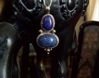 Sterling silver vintage lapiz pendant