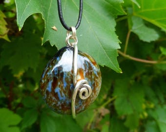 Ceramic long necklace and silver Zen jewel