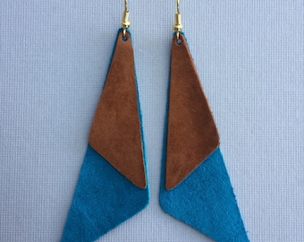 Blue and brown suede earrings