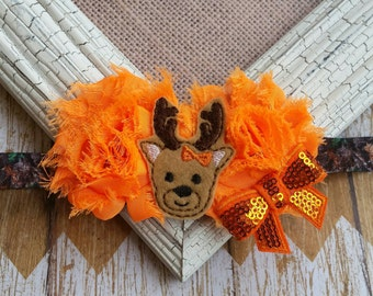 Girls camo headband, hunting headband, Deer headband, little hunter headband, daddys girl headband, country girl headband, baby headband