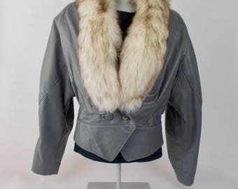 vintage gray leather jacket with removable fur collar rock and roll avant garde style made by the leather ranch  - 80s