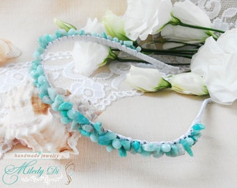 Bridal hair piece Mint hair jewelry Amazonite beaded headpiece Bridesmaid hair accessory Wedding headpiece Bridesmaid gift Bride jewelry