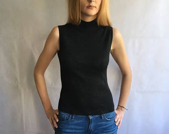 Vintage Sparkly Black Ribbed Thin Knitted Silk Top with Mock Neck