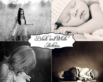 20 Classic Black and White Photoshop Actions bundle