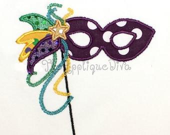 Mardi Gras Mask Embroidery Design Machine Applique