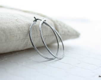 Silver Hoop Earrings , Hammered Hoops , Oxidized Hoop Earrings in Sterling Silver
