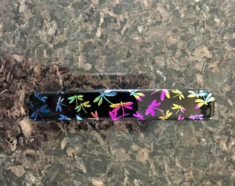 Hair Barrette French Clip, MultiColored Dragonflies, Dichroic Art Glass