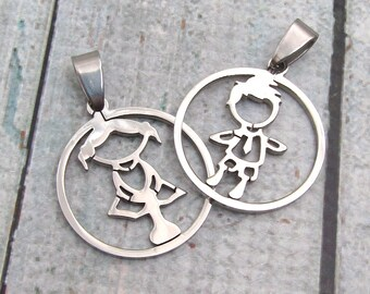 Kid Charms - Stainless Steel Girl Pendant Boy Pendant - SST Findings  25.4mm Stainless Steel Child Pendant (079)