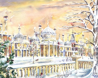 ROYAL PAVILION PRINT, Brighton Print, Mounted Print, Snow, Watercolour, Regency Architecture, Valentines Gift, Birthday Gift, Winter